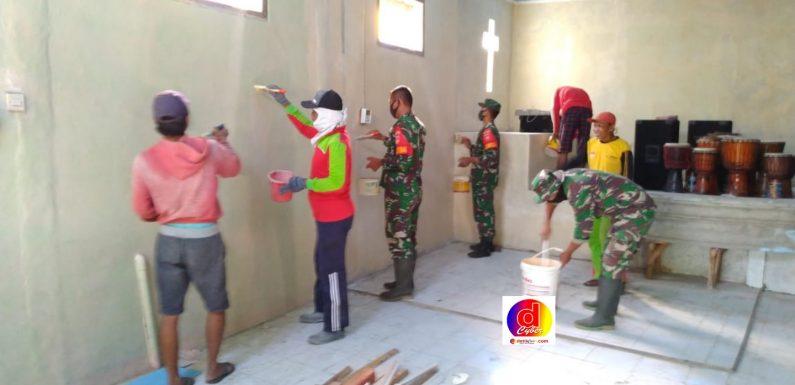 Koramil 17 / Sidoharjo Wonogiri Gotong Royong Tempat Ibadah GBIS Injil Sepenuh