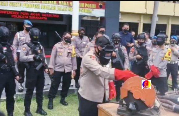 Pemusnahan 523 Knalpot Brong Dilakukan Polresta Surakarta