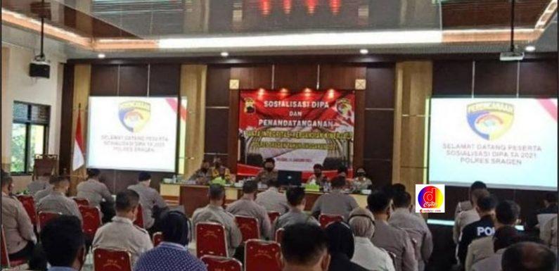 Sosialisasi DIPA dan Penandatanganan Fakta Integritas, Perjanjian Kinerja Polres Sragen Tahun Anggaran 2021