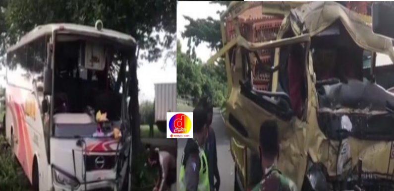 Kecelakaan Adu Banteng Bus Mira VS Truk Satu Korban Tewas